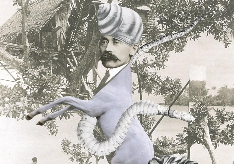 Half male half horse black and white collage by Anna Bu Kliewer