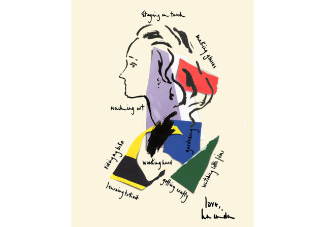 Illustrated portrait of editor and stylist Lucinda Chambers in Vogue US