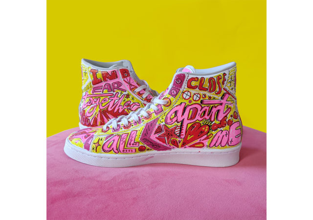 Kate Moross hand-painted Converse for One Love COVID-19 Relief Auction