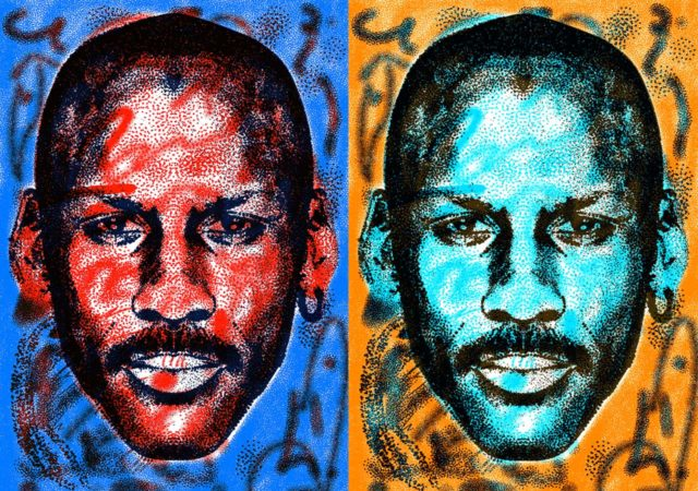 Illustrated sport star portraits by Steven Wilson
